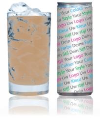 logo op ijskoffie style fles flesje blik blikje opdruk design ontwerp