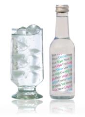 eigen waterfles vodka energy shot chocomel chocomelk logos