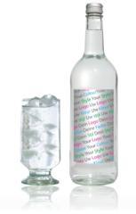 eigen glas fles water blikje blikjes print opdruk
